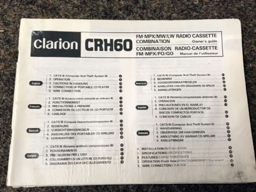 Instruction book, Mazda MX-5 mk1 1990 Clarion CRH60 Radio Cassette, USED